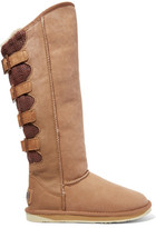 Australia Luxe Collective Spartan Shearling-Lined Coated Suede And Knitted Boots