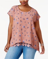 ING Trendy Plus Size Lace-Trim Top