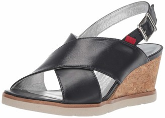 Marc Joseph New York Women's Leather Made in Brazil Criss Cross Wedge Sandal
