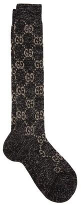 Gucci GG Metallic Knee-high Cotton-blend Socks - Black Beige