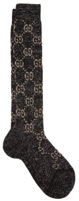 Gucci Gg Metallic Knee-high Cotton-blend Socks - Womens - Black Beige