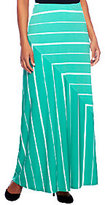 As Is Susan Graver Liquid Knit Pull-On Striped Maxi Skirt