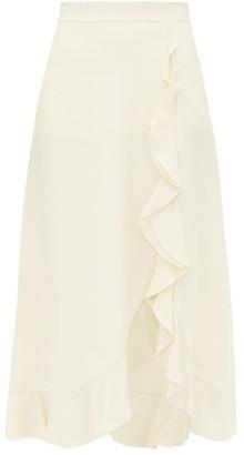 Giambattista Valli Ruffle-hem Crepe Skirt - Ivory