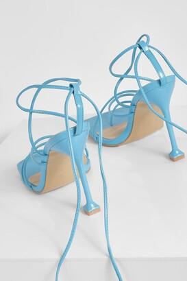 boohoo Square Toe Wrap Up Sandal