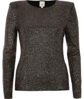 River Island Womens Gold metallic power shoulder fitted top