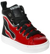 DSQUARED2 Flames Leather High Top Sneakers