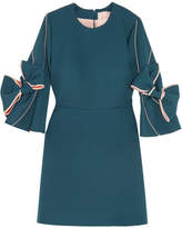 Roksanda Harlin Bow-embellished Stretch-crepe Mini Dress - Petrol