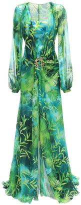 Versace Jungle Print Sheer Silk Muslin Dress