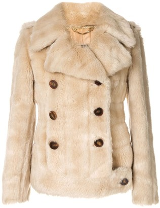Gucci Pre Owned Logos Long Sleeve Fur Coat Jacket