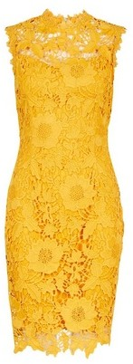 Dorothy Perkins Womens Showcase Yellow 'Erica' Lace Bodycon Dress, Yellow
