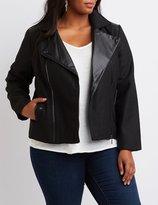 Charlotte Russe Plus Size Faux Leather-Trim Moto Jacket