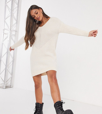 Only Petite jumper dress with v neck in cream