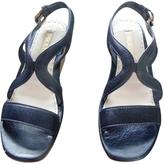 Prada Blue Leather Wedge Sandals