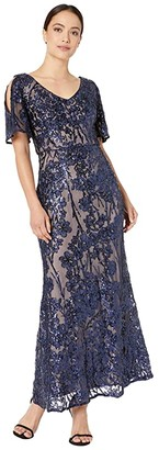 Alex Evenings Petite Long V-Neck A-Line Dress with Cold-Shoulder Flutter Sleeve (Navy/Nude) Women's Dress