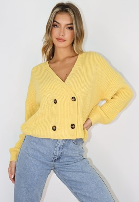 Missguided Yellow Double Breasted Knitted Cardigan