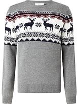 John Lewis Reindeer Christmas Jumper, Charcoal