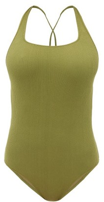 Ganni Crossover-back Ribbed-jersey Swimsuit - Womens - Khaki