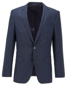 HUGO BOSS Slim Fit Jacket In Checked Virgin Wool - Dark Blue