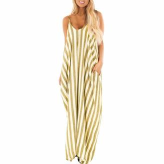 Mooua Womens Dresses Long Boho Style Dress Summer Holiday Strappy Striped Beach Maxi Dress Sundress Yellow