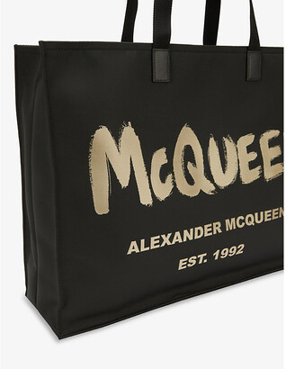 Alexander McQueen Graffiti-print open-top shell tote bag