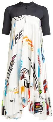 Marine Serre Logo-print Contrast-panel Satin Dress - Womens - Black Multi