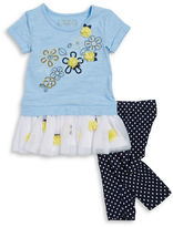 Flapdoodles Girls 2-6x Little Girls Floral Top and Dotted Leggings Set