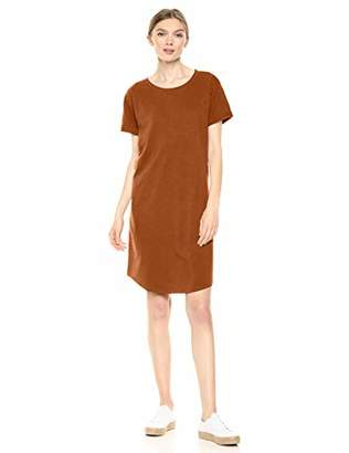 Daily Ritual Lived-in Cotton Roll-sleeve Crewneck T-shirt Dress Casual,(EU S - M)