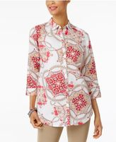 JM Collection Printed Roll-Tab Shirt, Only at Macy's