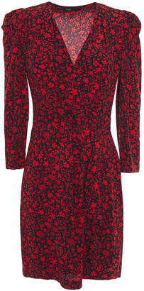 Maje Wrap-effect Floral-print Crepe Mini Dress