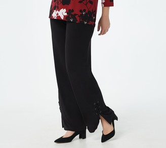 Susan Graver Regular Liquid Knit Pull-On Pants w/Lacing Detail