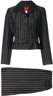 Kenzo Pre Owned Striped Belted Skirt Suit