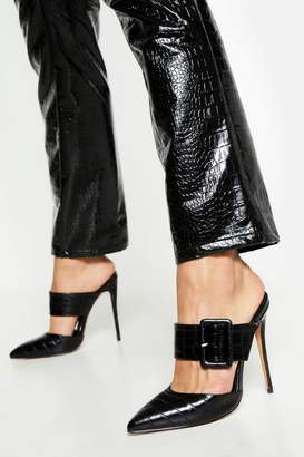 boohoo Pointed Buckle Detail Court Mules