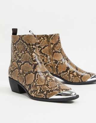 ASOS DESIGN cuban heel western chelsea boots in brown faux leather with snake print angular sole and metal toe cap