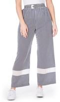 Plus Size Women's Elvi Stripe Wide Leg Trousers