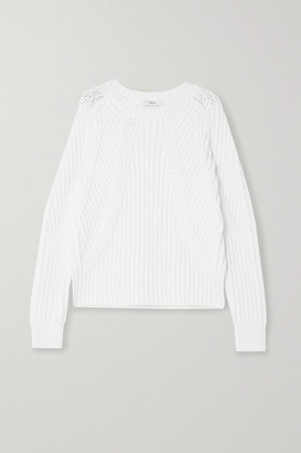 Vince Ribbed Cotton-blend Sweater - White