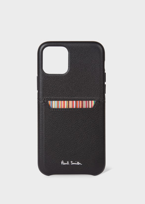 Black Leather iPhone 11 Pro Case With 'Signature Stripe' Card Slot
