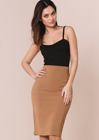 Missy Empire Danica Camel High Waisted Midi Skirt