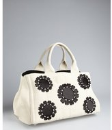 Prada cream and black canvas flower detail tote
