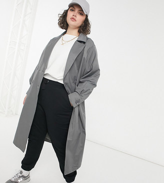 Threadbare Curve louisa trench in gray
