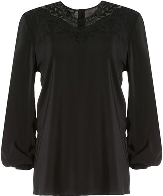 Giambattista Valli Lace-Neck Crepe De Chine Blouse