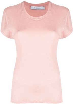 IRO ribbed neck linen T-shirt