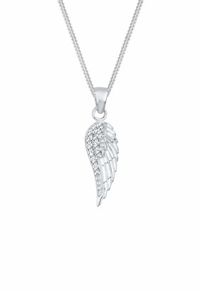 Elli Women's 925 Sterling Silver Xilion Cut Crystal Wing lassic Elephant Pendant Necklace Length of 45 cm
