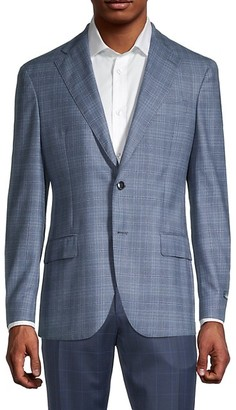 Lubiam Standard-Fit Windowpane Virgin Wool Jacket