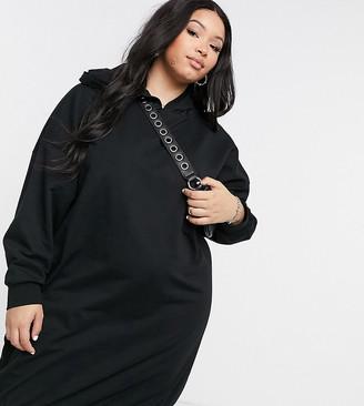 ASOS DESIGN Curve hoodie sweat dress in black