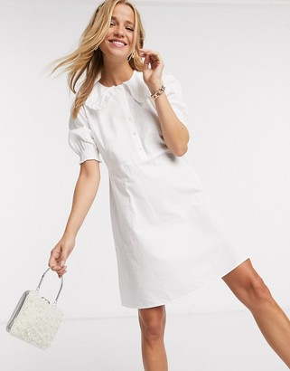 Pieces shirt dress with frill collar in white
