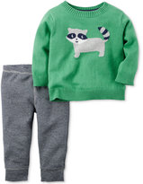 Carter's Baby Boys' 2-Pc. Intarsia Raccoon Sweater & Pants Set