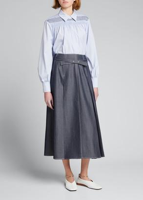 Jason Wu Belted Pleated Denim A-Line Midi Skirt
