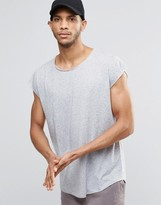 Asos Oversized Sleeveless T-Shirt With Raw Edges In Linen Mix