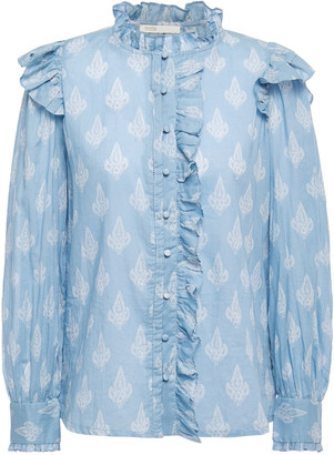 Maje Pointelle-trimmed Ruffled Printed Cotton-gauze Shirt