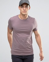 Asos Muscle T-Shirt With Crew Neck In Purple